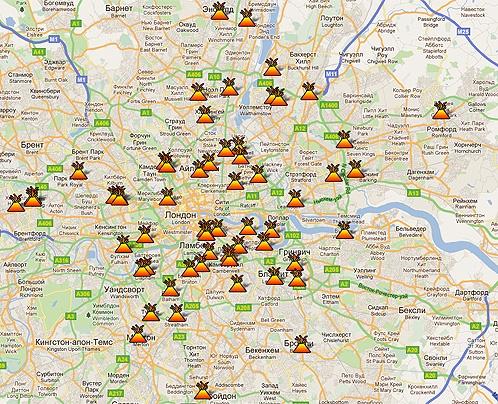 Сервис Google Maps позволяет оперативно отображать все сообщения о поджогах и криминальных эпизодах в Лондоне прямо на интерактивной карте города