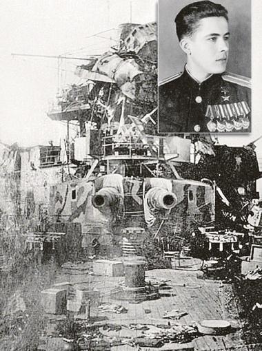 За то, что летчик М. Борисов превратил немецкий линкор
