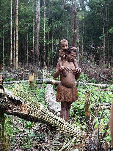 Таская на себе детей и различные тяжести, женщины-папуаски ловко перемещаются по скользким бревнам.