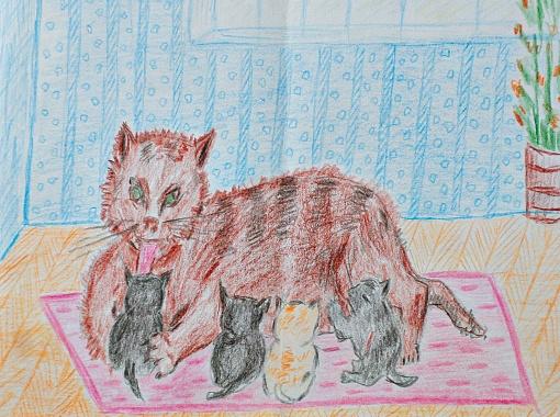 Любимица Ивана Никитича и ее котята.