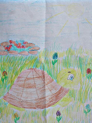 Масяня любит гулять на дачном газоне.