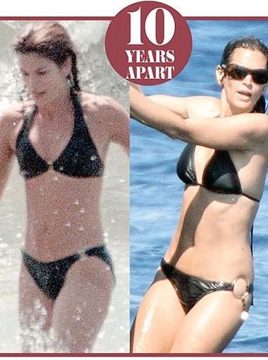 Синди Кроуфорд в 42 года и в 32 - почти не изменилась. Фото Daily Mail.