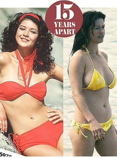 Кэтрин Зета-Джонс с годами обзавелась силиконовым бюстом, но в остальном ее фигура все та же. Фото Daily Mail.