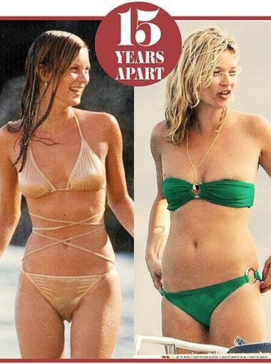 Кейт Мосс в 20 лет и в 35. Фото Daily Mail.