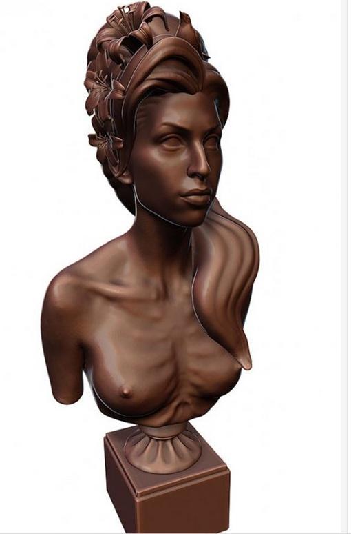 Эми изображена с обнаженной грудью, а в ее знаменитой прическе гнездятся птицы и растут цветы