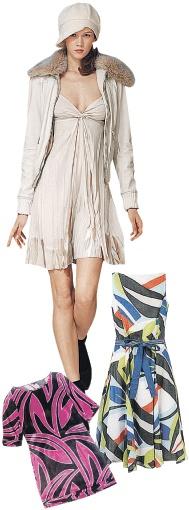 Куртка из искусственной кожи с воротником из искусственного меха, Sisley, 1500 грн. Платье, Marks&Spenser, 850 грн. Платье, Monsoon, 480 грн.