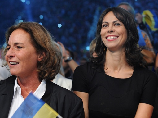 Победу во Вроцлаве видела жена Виталия - Наталья.