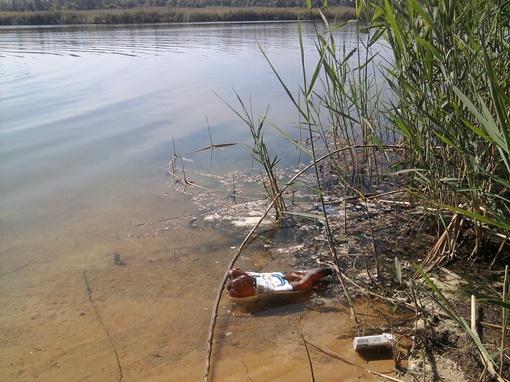 Досталось и озеру. В чистой воде плавают пластиковые бутылки, пачки от сигарет, упаковки…