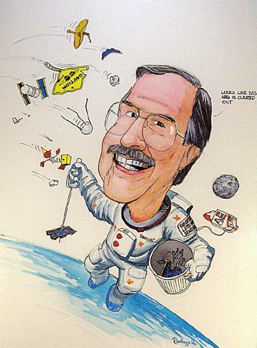 Коллеги по НАСА нарисовали карикатуру на Дональда Кесслера - автора одноименного синдрома.