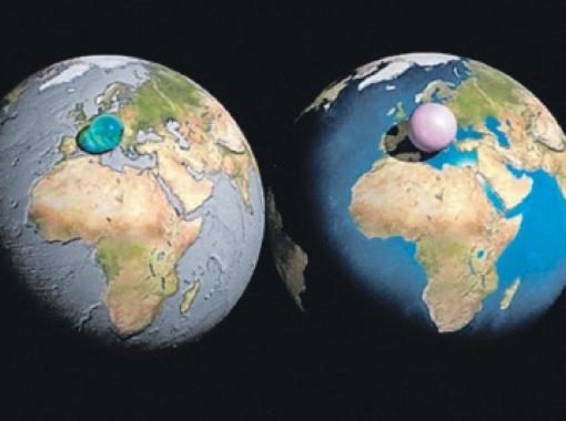 Голубой шарик: вся земная вода - около полутора миллиардов кубических километров - может быть собрана в сферу диаметром 1390 километров.