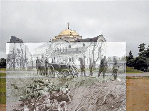 Старое немецкое фото поисковики наложили на фото местности - все совпало! Так и было установлено место захоронения солдат.