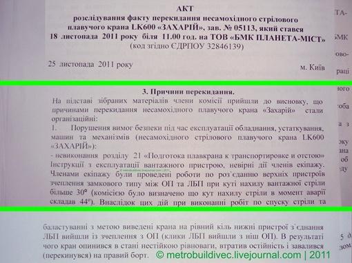 Копия акта расследования факта падения плавучего крана LK600