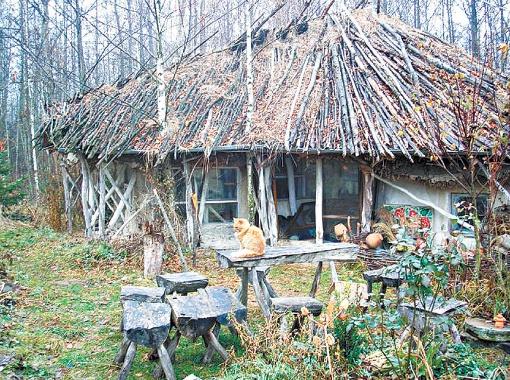 В этой мини-избушке без электричества и водопровода и живет семейство - и зимой, и летом.