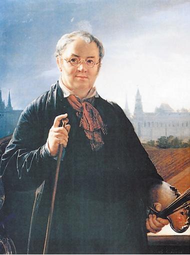 Василий Тропинин. Автопортрет с кистями и палитрой на фоне окна с видом на Кремль (1844).