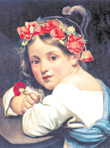 Орест Кипренский. Девочка в маковом венке с гвоздикой в руке (Мариучча). 1819 год.