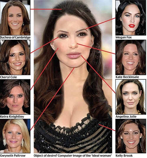 Губы опрошенные женщины хотели бы позаимствовать у Анджелины Джоли, глаза — у певицы Шерил Коул, брови — у Меган Фокс, скулы — у Киры Найтли.  Фото: Daily Mail