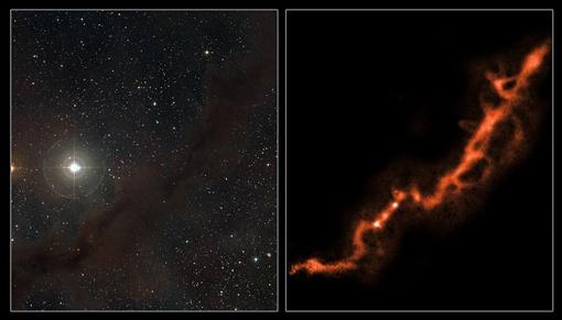 Темные отметины - облака межзвездного газа. Фото infuture.ru.