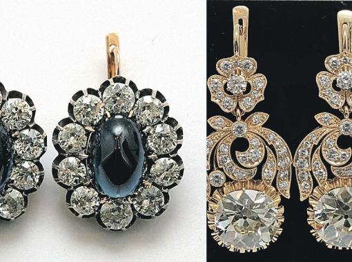 Самые дорогие из выставленных драгоценностей. Справа - серьги с кашмирскими сапфирами, обрамленными круглыми бриллиантами, слева - старинные серьги из золота и серебра, украшенные алмазами. Фото аукционного дома