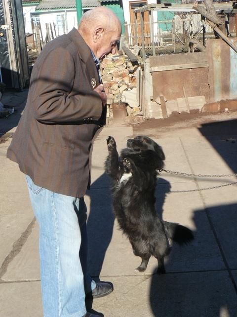 Дедушка ухаживает не только за собой, но и за своими четвероногими любимцами. У хозяина две собаки.