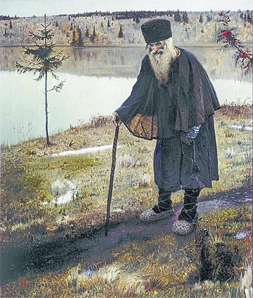 Пустынник, 1888-1889 годы. Первая значительная картина Нестерова, раскрывшая самобытность его творчества.