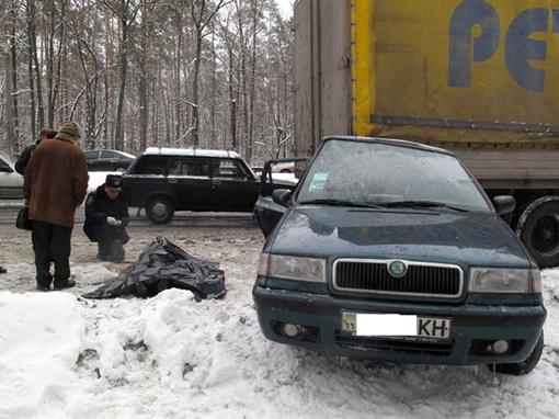 Шкода ударилась в грузовик с такой силой, что машина залетела под прицеп