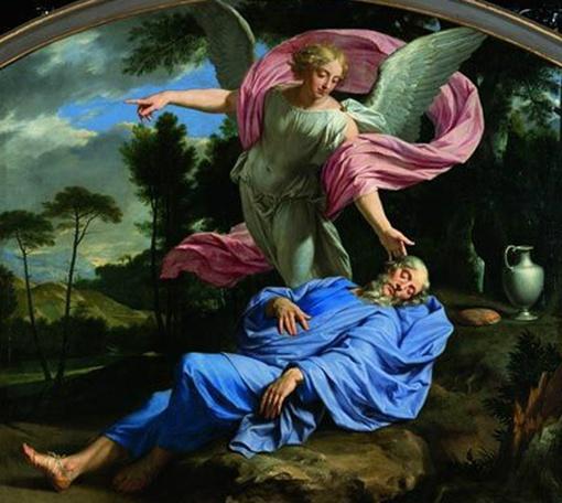Сон пророка Илии. Художник Филипп де Шампань. 1656 год. Музей Тессе в Ле-Мане (Франция).