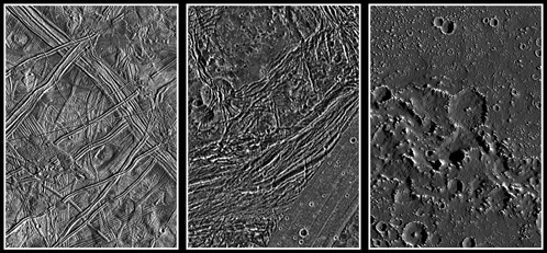 Ледяные поверхности Европы, Ганимеда и Каллисто