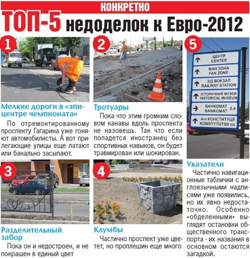 ТОП-5 недоделок к Евро-2012. Графика Оксаны ЧЕРЕВАТЕНКО