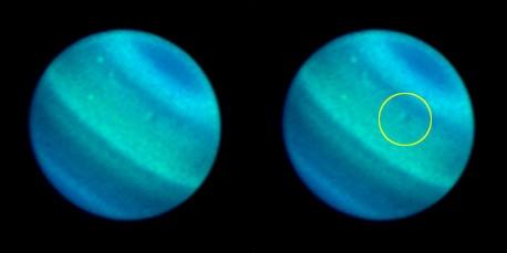 На Уране были обнаружены какие-то темные пятна. Фото НАСА.