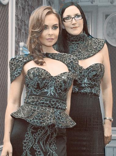 Британскмй модельер Дебби Вингхем (справа) покоряет Европу, выпуская впереди себя свое уникальное платье.