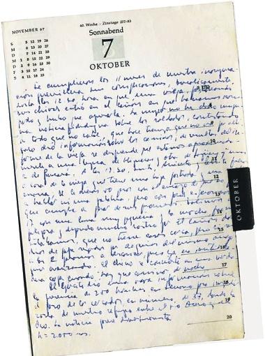Та самая последняя запись, сделанная Че Геварой в своем партизанском дневнике. Фото с сайта chebolivia.org.