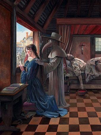 В те времена чуму ассоциировали с человеком в маске с клювом.