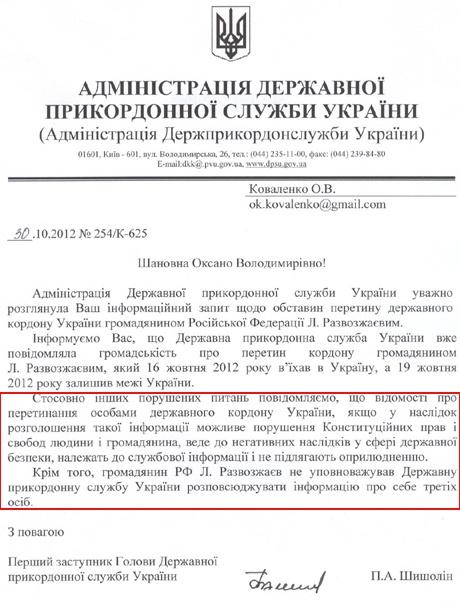 Ответ Госпогранслужбы. Документ с сайта pravda.com.ua