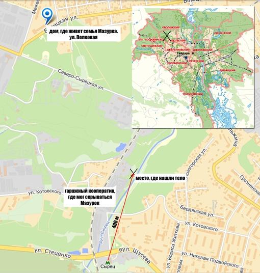 Карта района Киева, где нашли тело