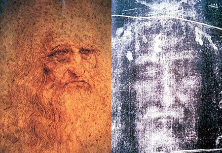 Портрет Леонардо да Винчи и якобы посмертное изображение лица Христа.
