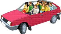 Рядом с водителем сидели сразу двое. Четверо уместились на заднем сиденье. Еще четыре человека забрались им на колени.