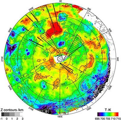 Новая тепловая карта южного полушария Венеры. Фото: ESA/VIRTIS/INAF-IASF/Obs. de Paris-LESIA.