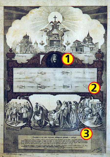 В 1898 году, когда были сделаны первые фото плащаницы (а именно на их негативах люди заметили след тела), Ватикан выпустил вот такую листовку, купив которую можно было избавиться от части грехов. 1. Портрет Папы Пия IX. 2. Фото плащаницы. 3. Молитва, сочи