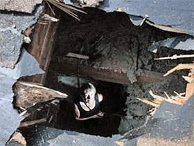 Вид через крышу на хозяйку дома.