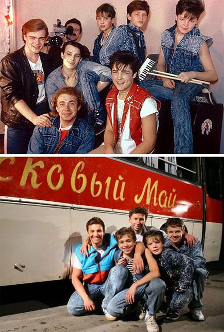 В основу фильма взята история появления оренбургской группы «Ласковый май» (сверху). В задачу молодых актеров (снизу) не входило точное их копирование.