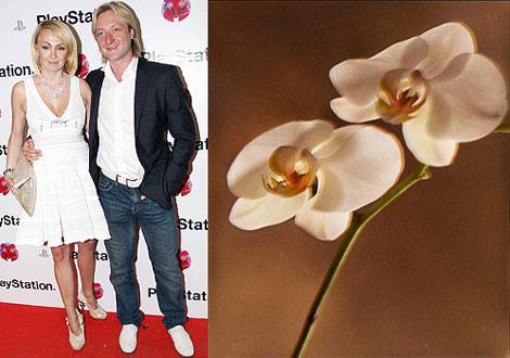 Молодожены Рудковская и Плющенко: две очаровательные орхидеи. Фото: unassvadba.ru и Владимира ШИРОКОВА.