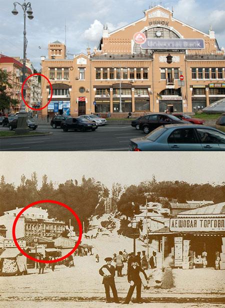 Здание, обведенное кругами на обеих фотографиях, пожалуй, единственное строение на Бессарабской площади, которое можно узнать через 100 лет.