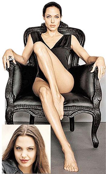 Красавице Анджелине доктора изменили форму лица, приподняв скулы. Это заметно, если сравнить недавнее фото (вверху) с фотографией, сделанной в юности (внизу).