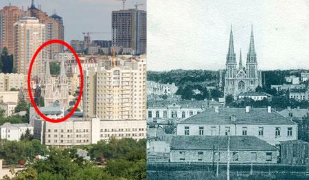 Будучи самым высоким строением в своем районе 100 лет назад, костел совершенно теряется среди высоток сегодня.