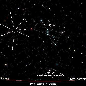 Ориониды как бы вылетают из точки (радиант), расположенной рядом с созвездием Ориона.