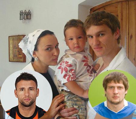 Дружная футбольно-крестная семья: маленький Руслан Селезнев (его папа на фото справа) приходится крестником Юле Рац (ее муж-футболист на фото слева) и форварду «Шахтера» Александру Гладкому.