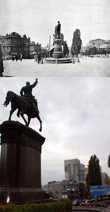 Памятник красному комдиву разместили не на том же месте, где стоял сахарозаводчик, а чуть ближе к станции метро «Университет».