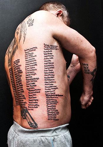 На его теле поместилось 223 имени. Фото: Daily Mail.