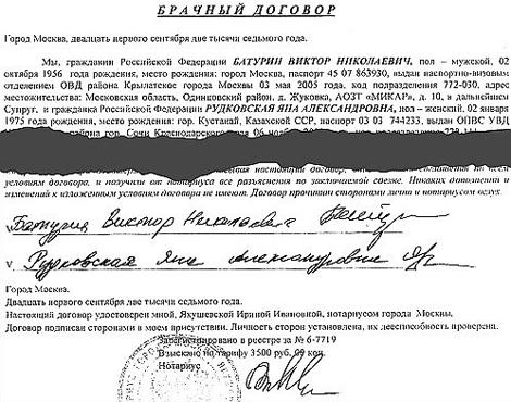 Брачный договор Яны Рудковской