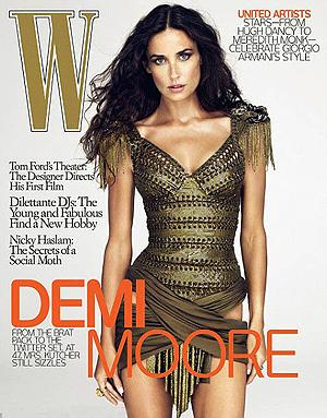 Обложка журнала W с Деми МУР.